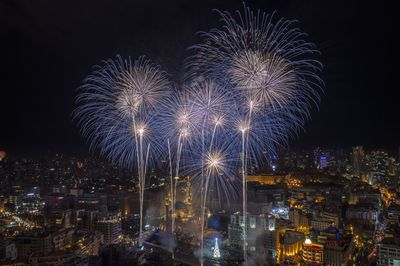 Fireworksduring New Year's celebrations in Beirut, Lebanon.