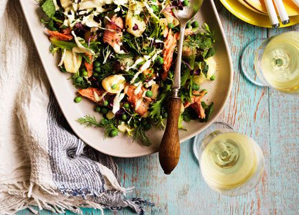 Smoked rainbow trout with soft herbs and lemon salad cream