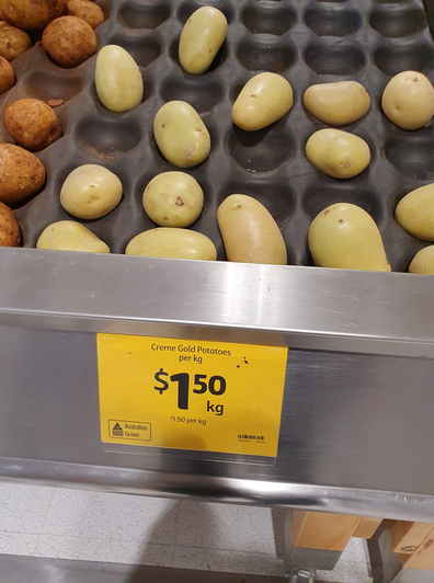 Potatoes on special at Coles
