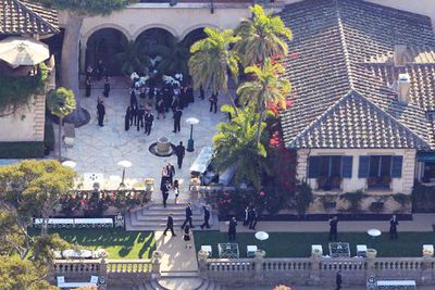 A private $20m estate at Montecito called 'Sotto Il Monte', meaning 'Beneath the Mountain'. The 1926 Spanish Colonial mansion is owned by venture capitalist Frank Caufield, who bought it off talk show host Ellen DeGeneres in 2007. How much did Kim and Kris pay? Absolutely nothing!<br/><br/>Image: Splash