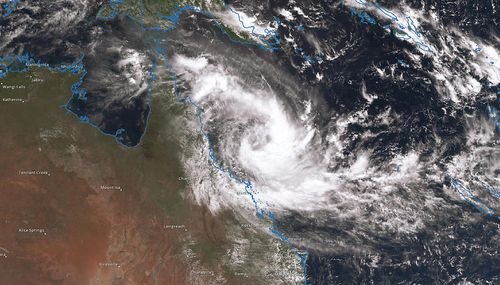 Tropical Cyclone Iris forming off the coast of north Queensland in April 2018.
