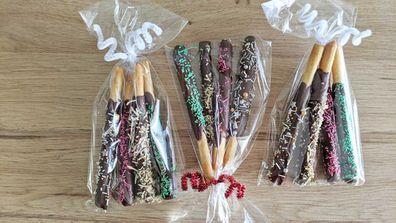 Christmas themed chocolate coated pretzel sticks