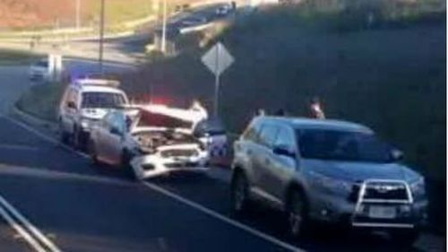 Hunt on for couple after NSW highway patrol car rammed