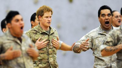 The young royal has enjoyed getting to know members of the Australian and NZ armies.<br> Here, Prince Harry joins in a Maori haka with NZ troops at the Linton Army Camp in Palmerston North. (AAP)