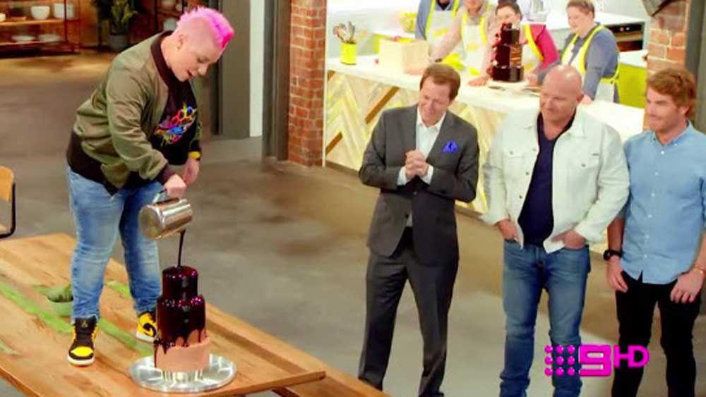 Anna Polyviou pours the glaze on her ultimate birthday cake
