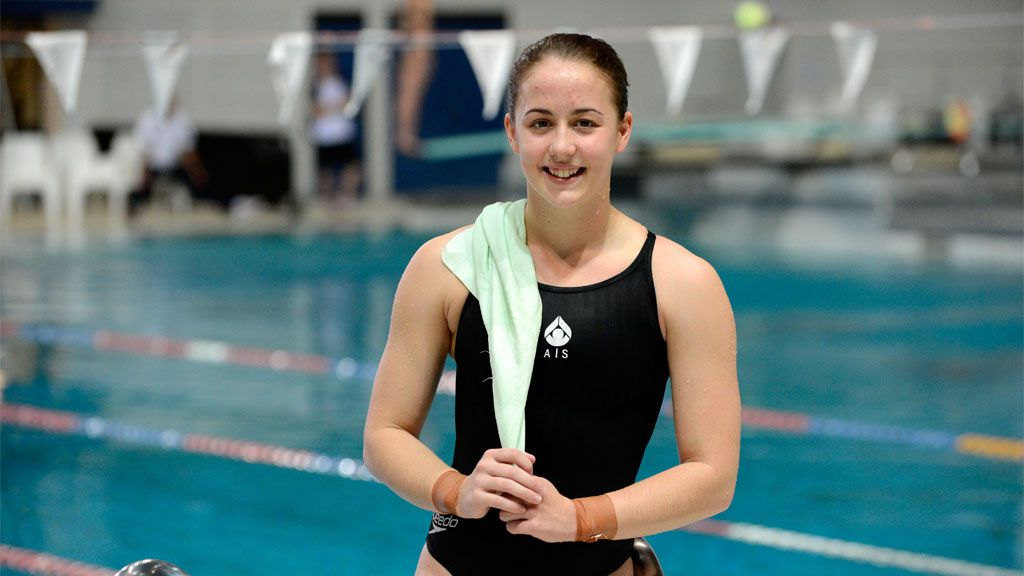 Olympic silver medalist diver Brittany Broben during training in Brisbane. (AAP)