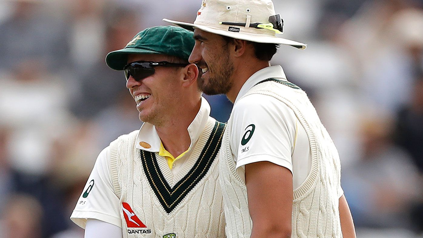 Peter Siddle and Mitchell Starc celebrates after Australia bowled out Derbyshire