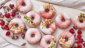 Coconut and raspberry prosecco donut