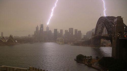 Lightning strike in Sydney.