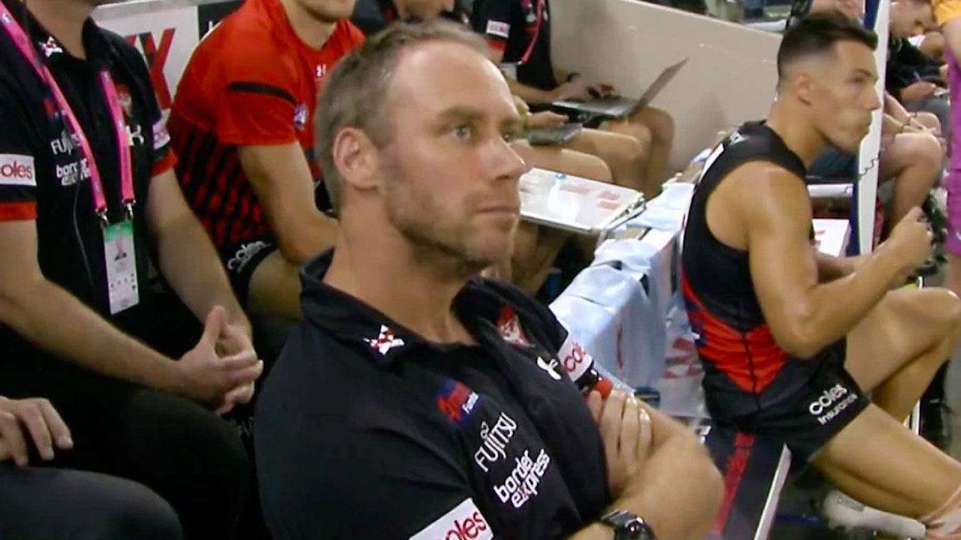 Ben Rutten moved to the bench during the Bombers' opening-round loss to the Hawks. (Twitter)