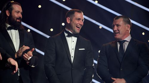 Melbourne Storm player Cameron Smith reacts after being announced as the winner of the 2017 Dally M Medal. (AAP)