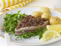 Tuna with orange-scented olive tapenade