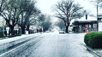 A dusting of snow in Hahndorf, in the Adelaide Hills yesterday. (Sarah Clark)