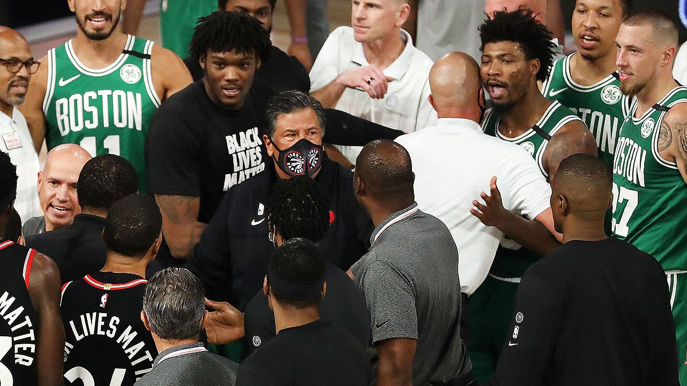 Tempers flare between Raptors and Celtics players following double-OT thriller