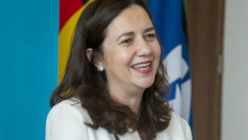 Queensland Premier Annastacia Palaszczuk speaks to media at 1 William Street about the Commonwealth Games.
