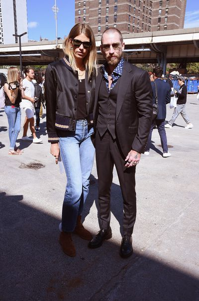 Veronika Heilbrunner and Justin O'Shea outside the show.