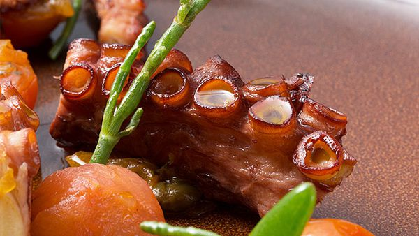 Pure South's octopus 'a la plancha' with tomato, caper and dill sauce
