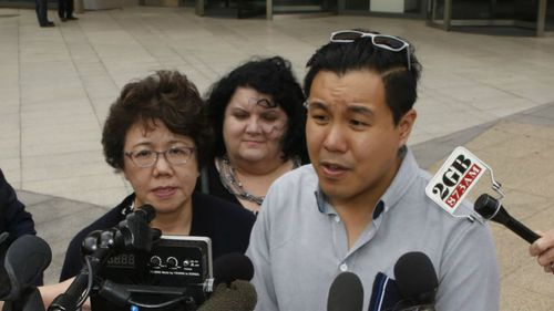 Selina Cheng and son Alpha speak after Alou is sentenced to up to 44 years in jail. (AAP)