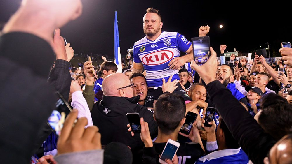 Josh Reynolds after his last game for the Bulldogs at Belmore Oval. (AAP)