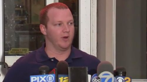 NYPD Officer Ryan Nash, 28, speaks to reporters after being hailed a hero for taking down the NYC terror suspect.