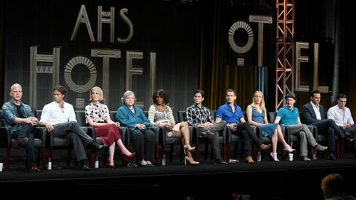 The cast and crew of American Horror Story: Hotel speaking at the Television Critics Association press tour. (AAP)