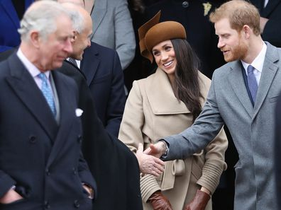 Harry and Meghan (with Prince Charles) at church in 2017