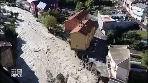 Floods on the border of France and Italy