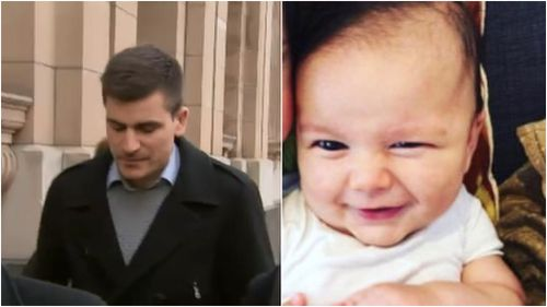 The father of Zachary Bryant, Garagsoulas's youngest alleged victim, spoke outside court today. (9NEWS)