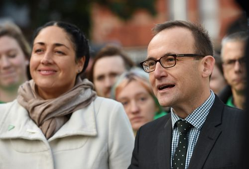 Australian Greens candidate for the federal seat of Batman Alex Bhathal (left) and Australian Greens MP and member for Melbourne Adam Bandt speak to media during a press conference in Northcote, Melbourne, Tuesday, June 21, 2016. (AAP Image/Tracey Nearmy)