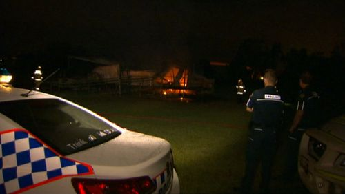 Old demountable at AFL field destroyed after suspicious blaze in Brisbane's north