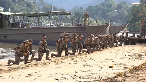 Hundreds of Aussie troops, and about 50 US marines, took part in the excercises. (9NEWS)