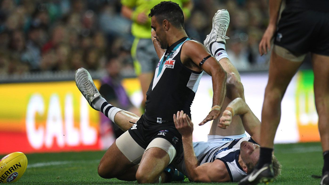 Port Adelaide forward's Lindsay Thomas bump a 'dog act', says ex-Geelong skipper Cameron Ling