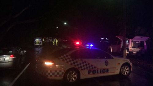 Emergency services at the scene of the police shooting in Ashgrove. (Sean Power/9NEWS)
