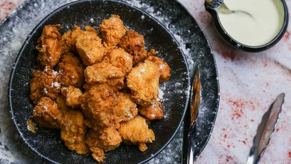 The Tartaglia's Popcorn Chicken with Blue Cheese Sauce