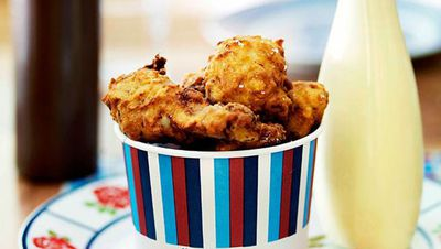"Recipe: <a href=""http://kitchen.nine.com.au/2016/05/13/13/13/kfc-kats-fried-chicken-with-barbecue-sauce"" target=""_top"">KFC 'Kat's fried chicken' with barbecue sauce</a>"