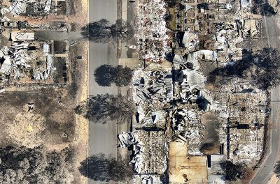 Two lives were claimed in the town of Yarloop and more than 160 homes were destroyed in the fire. (Nearmap)