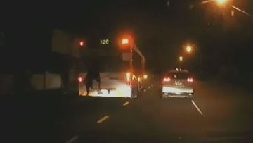 Two teens have been caught holding onto the back of a Brisbane bus.