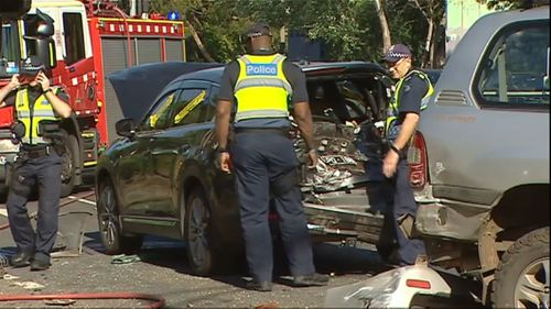 Police say the truck collided with a number of vehicles.