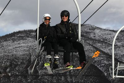 Avatar star Zoe Saldana hit the slopes at Aspen with her man Keith Britton.