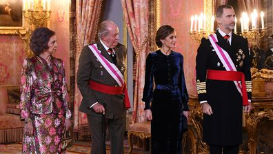 King Felipe and Queen Letizia with former King Juan Carlos and his wife Queen Sofia.