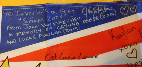 In 2020 Canadian truckie John Van Vyfeyken has driven the flag around British Columbia, asking people to sign it for the Fowler family in Sydney.