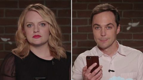 Elizabeth Moss and Jim Parsons read mean tweets