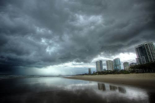 Storm clouds loom over the Gold Coast in this picture taken in 2014. (AAP)