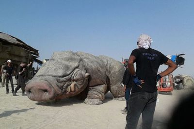A series of pics have emerged from the uber-secretive <i>Star Wars: Episode VII</i> set in Abu Dhabi... giving fans a sneak peek of what to expect from the film. <br/><br/>From gigantic four-legged monsters to, broken-down droids check out the best behind-the-scenes snaps so far... <br/><br/>Source: Splash <br/>