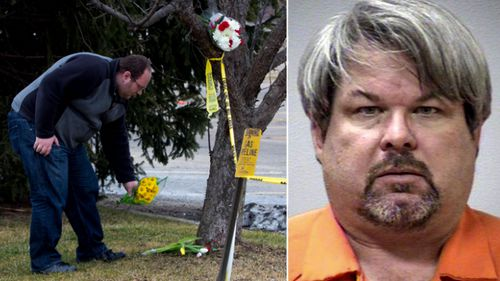 A memorial to one of the victims fatally shot by Jason Dalton, right, in Michigan in 2016.
