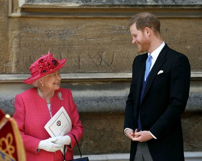 The Queen and Prince Harry at the wedding of Lady Gabriella Windsor and Thomas Kingston.