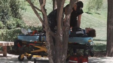 Kim Kardashian, Kris Jenner, injured, stretcher, ambulance, phone call, Keeping Up With the Kardashians