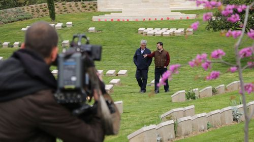 Behind the scenes with Mark Burrows in Gallipoli.