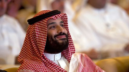 Saudi Crown Prince Mohammed bin Salman smiles as he attends the Future Investment Initiative summit in Riyadh, Saudi Arabia.