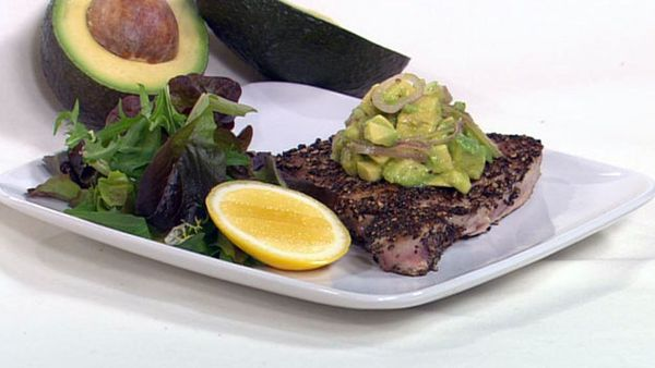 Seared pepper crusted tuna with avocado salsa